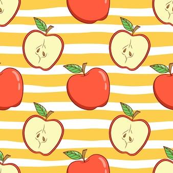 Patrón sin fisuras de manzana con estilo doodle color