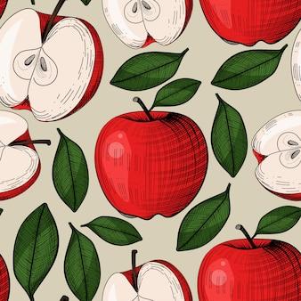 Patrón sin fisuras con manzana en grabado estilo vintage. se puede usar para tela, manteles, papel de regalo u otros