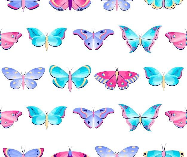 Patrón sin fisuras con mariposas y polillas sobre fondo blanco.