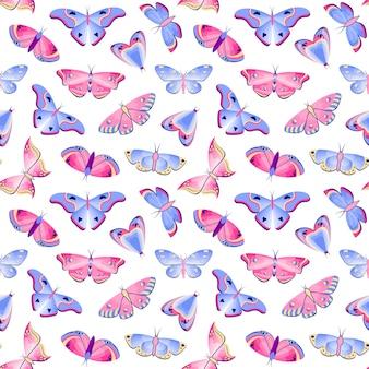 Patrón sin fisuras con mariposas sobre fondo blanco.