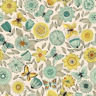 Patrón sin fisuras con mariposas volando sobre las flores