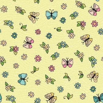 Patrón sin fisuras con mariposas volando sobre las flores.
