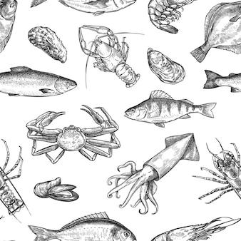 Patrón sin fisuras de mariscos. dibujado a mano langosta, cangrejo, ostras y mejillones, calamares, camarones y peces dibujan textura de vector de impresión de vida marina. concepto de deporte de alimentación y pesca. diseño para cafetería o restaurante.