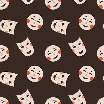 Patrón sin fisuras con máscaras teatrales símbolo de drama y comedia