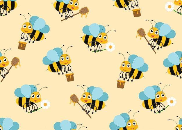 Patrón sin fisuras de mascotas de personaje de abeja de dibujos animados lindo