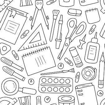 Patrón sin fisuras con material escolar y de oficina en estilo doodle sobre fondo blanco