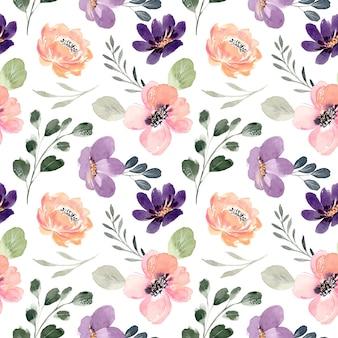 Patrón sin fisuras de melocotón púrpura floral con acuarela