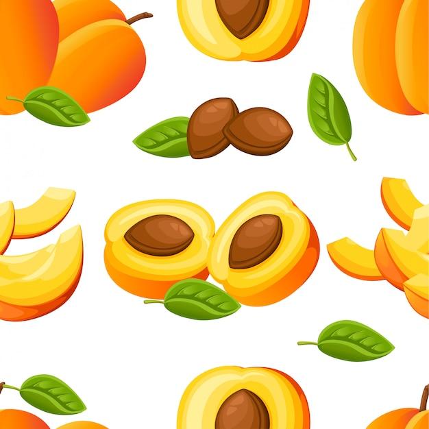 Patrón sin fisuras de melocotón y rodajas de melocotón. ilustración para cartel decorativo, producto natural emblema, mercado de agricultores. página web y aplicación móvil
