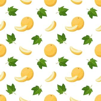 Patrón sin fisuras con melones rizos y hojas de lindo estampado de verano