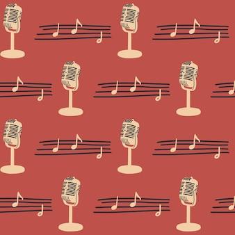 Patrón sin fisuras con micrófono vintage y partituras instrumentos musicales vectoriales
