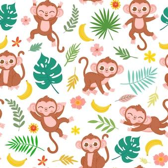 Patrón sin fisuras con mono bebé, plátano y hojas tropicales. animal de la selva infantil de dibujos animados para tela. textura de vector de monos lindos. ilustración de la selva de patrones sin fisuras con monos