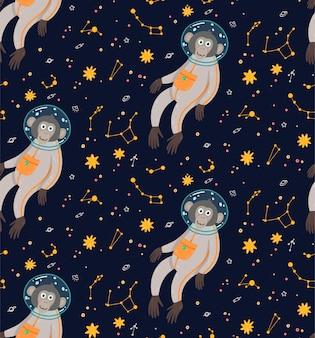 Patrón sin fisuras con mono lindo en el espacio. ilustración vectorial de los niños divertidos. simio en el cosmos rodeado de estrellas.
