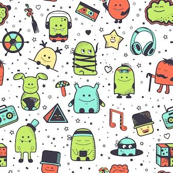 Patrón sin fisuras con monstruos divertidos. personajes de dibujos animados dibujados a mano, coloridas criaturas inusuales.
