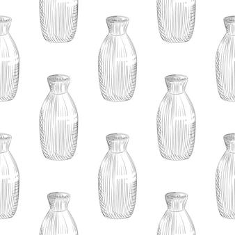 Patrón sin fisuras de motivo japonés sobre fondo blanco. botella de cerámica sake boceto dibujado a mano.