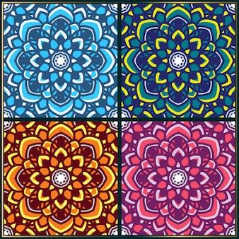 Patrón sin fisuras con motivos florales de arte mandala