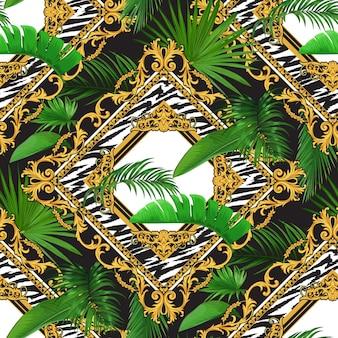 Patrón sin fisuras con motivos tropicales y pergaminos barrocos dorados