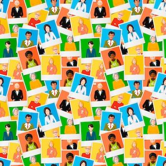 Patrón sin fisuras, muchas fotos polaroid diferentes con retratos planos de personas.