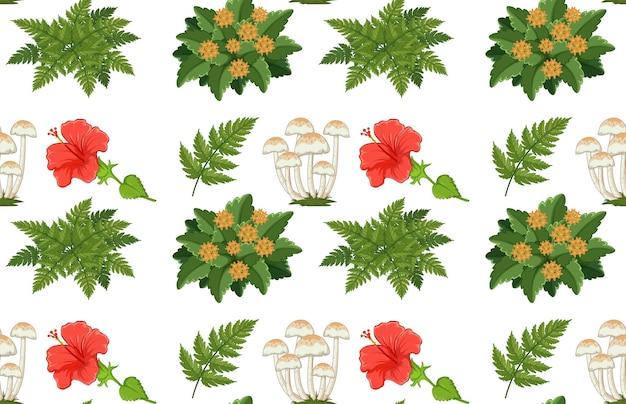 Patrón sin fisuras con muchas plantas diferentes en blanco