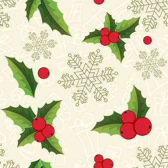 Patrón sin fisuras de muérdago de navidad con copos de nieve