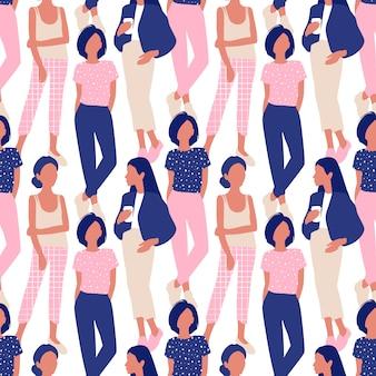Patrón sin fisuras con mujeres jóvenes en estilo moderno.