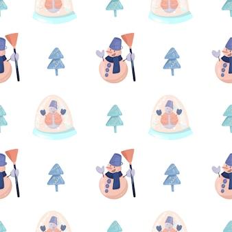 Patrón sin fisuras con muñeco de nieve divertido con una escoba, árboles de navidad simples y globo de cristal de nieve