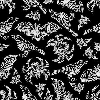 Patrón sin fisuras de murciélago y vela en fondo oscuro