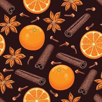 Patrón sin fisuras con naranja fruta canela en rama y anís estrellado