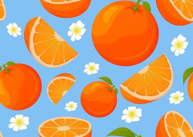 Patrón sin fisuras con naranja segmento de frutas tropicales.