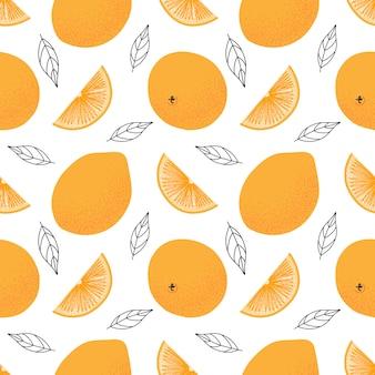 Patrón sin fisuras de naranjas jugosas.