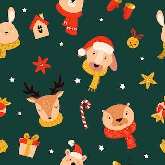 Patrón sin fisuras de navidad con animales lindos y elementos decorativos. fondo de vacaciones para tus diseños.