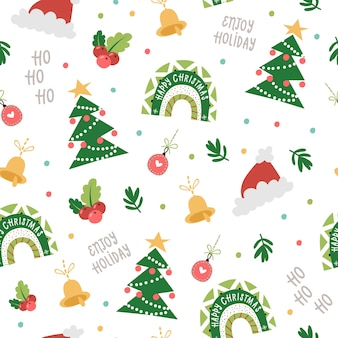 Patrón sin fisuras de navidad con arco iris festivo, árboles, sombreros. ilustración para invitaciones navideñas, camisetas y álbumes de recortes