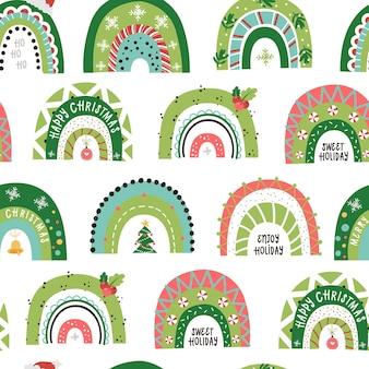 Patrón sin fisuras de navidad con arco iris festivo. ilustración para invitaciones navideñas, camisetas y álbumes de recortes