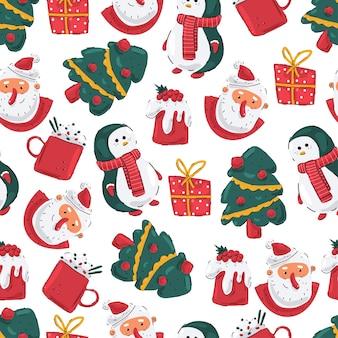 Patrón sin fisuras de navidad con cabeza de santa, pingüino, árbol, caja de regalo y pudín sobre un fondo blanco.