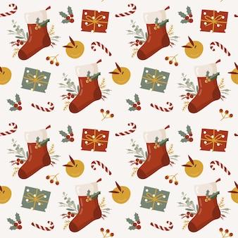 Patrón sin fisuras de navidad con caja de regalo.