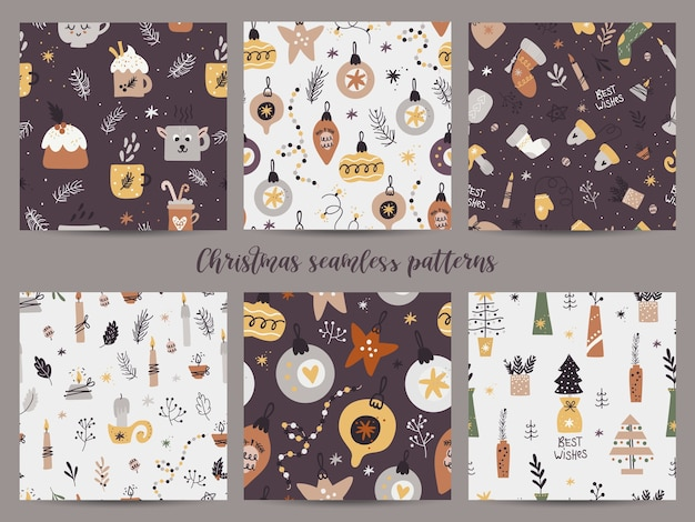 Patrón sin fisuras de navidad con colección de juguetes festivos.