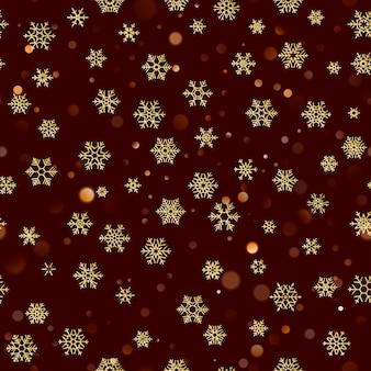 Patrón sin fisuras de navidad con copos de nieve de oro sobre fondo rojo marrón oscuro. decoración de vacaciones para navidad y año nuevo.