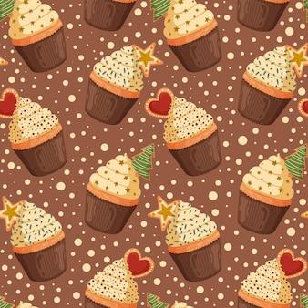 Patrón sin fisuras de navidad con cupcakes dulces.