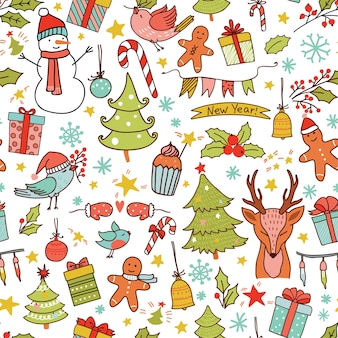 Patrón sin fisuras de navidad con decoración navideña y renos.