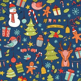 Patrón sin fisuras de navidad con decoración de vacaciones y renos.