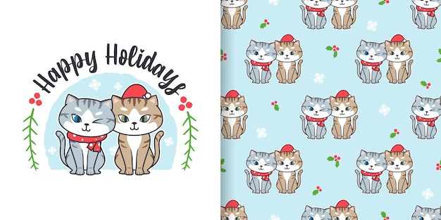 Patrón sin fisuras de navidad con dibujos animados de gatos lindos
