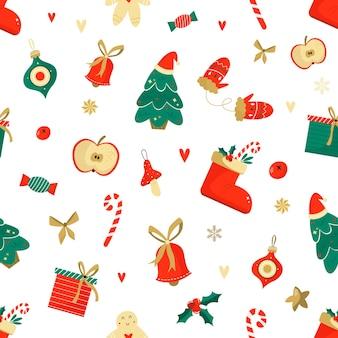 Patrón sin fisuras de navidad con elementos divertidos. para envolver papel, decoraciones, tarjetas de felicitación.