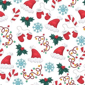 Patrón sin fisuras de navidad con gorro de papá noel, mitones, copos de nieve, muérdago, guirnaldas y bastón de caramelo sobre un fondo blanco.