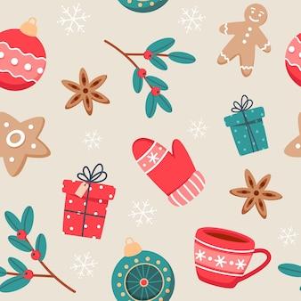 Patrón sin fisuras de navidad con lindas tazas, especias, galletas de jengibre y decoraciones de año nuevo