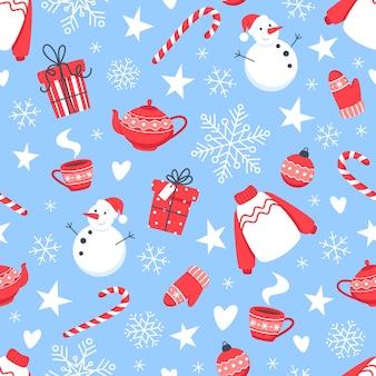 Patrón sin fisuras de navidad con muñeco de nieve, copos de nieve y dulces de año nuevo