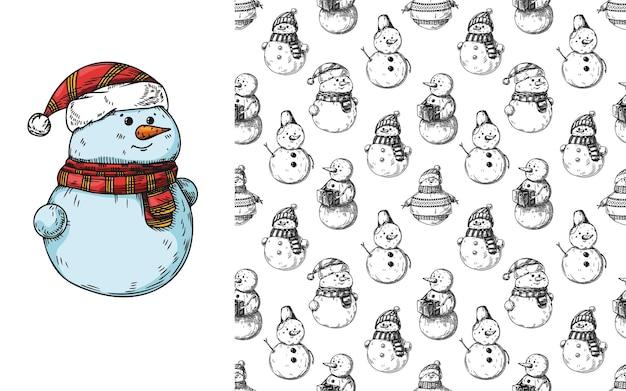 Patrón sin fisuras de navidad con muñecos de nieve. boceto, ilustración dibujada a mano