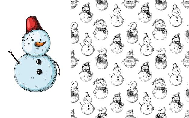 Patrón sin fisuras de navidad con muñecos de nieve. bosquejo.