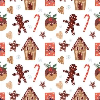 Patrón sin fisuras de navidad con pan de jengibre y regalos, diseño de invierno