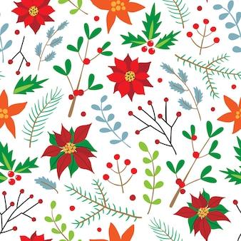 Patrón sin fisuras de navidad con ramas de abeto, acebo, flor de pascua y bayas.