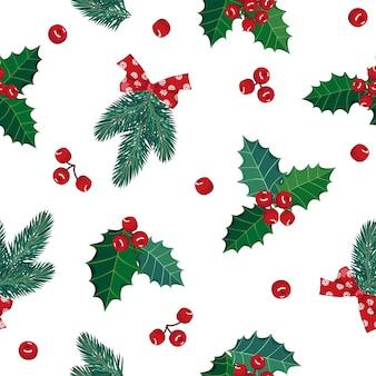 Patrón sin fisuras de navidad con ramas de abeto y muérdago.