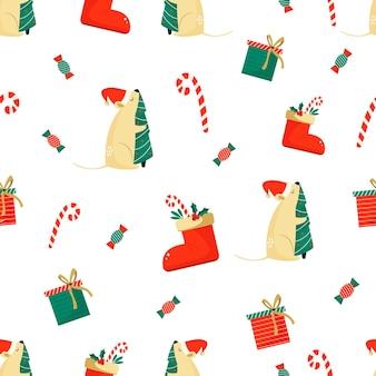 Patrón sin fisuras de navidad con ratones divertidos. para envolver papel, decoraciones, tarjetas de felicitación. concepto de año nuevo chino